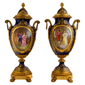 A Fine Quality Pair of Sèvres Style Ormolu Mounted Porcelain Urns