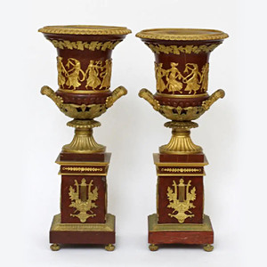 A Fine Quality Pair of Ormolu Mounted Rouge Marble Urns Featuring Neoclassical Dancers
