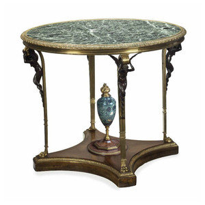 A Fine Quality Gilt Bronze Mahogany Marble Top Center Table