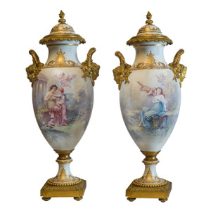 A Fine Quality Pair of Gilt Bronze Mounted Sèvres Porcelain Vases and Cover