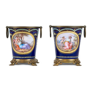 A Pair of Fine Quality Jeweled Painted French Enamel Planters