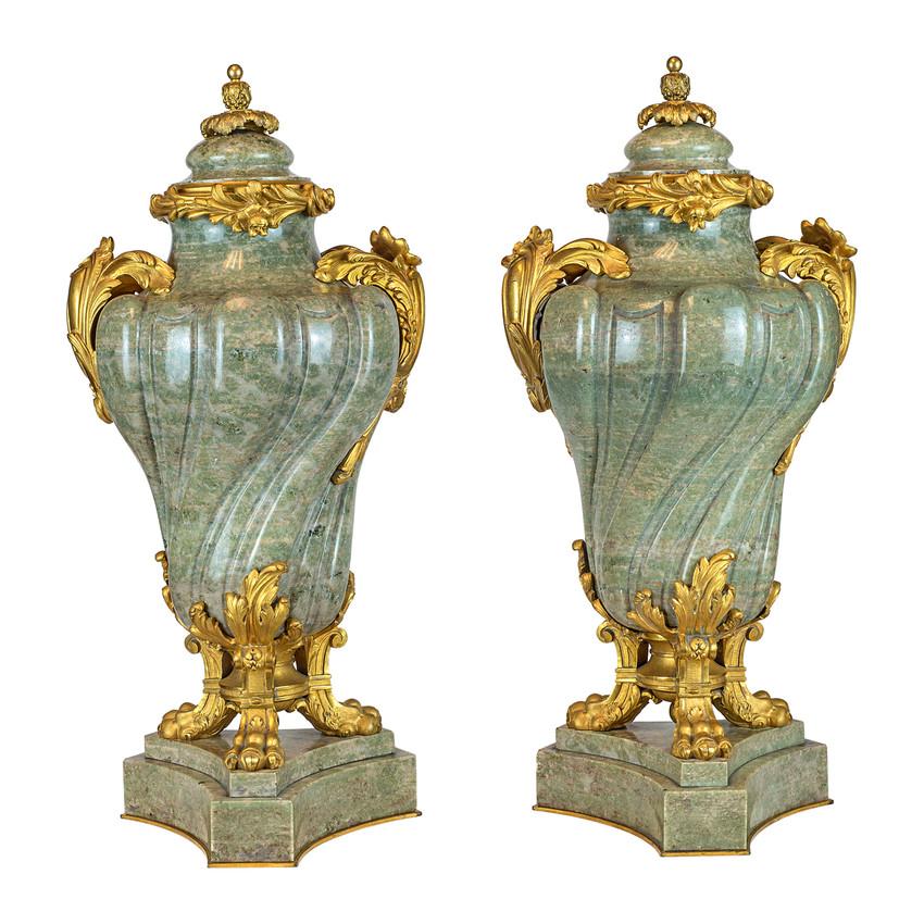 Pair of Elegant Louis XV Style Ormolu Mounted Green Marble Urns