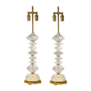 A Fine Pair of French Rock Crystal Table Lamps