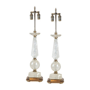 A Fine Pair of Rock Crystal and Silvered Wood Accent Table Lamps