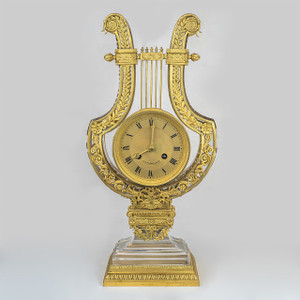 A Luxurious Ormolu and Glass Lyre Clock by J.E. Caldwell & Co.