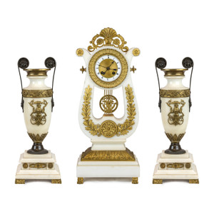 Ormolu and White Marble Lyre Empire Style Clock Garniture