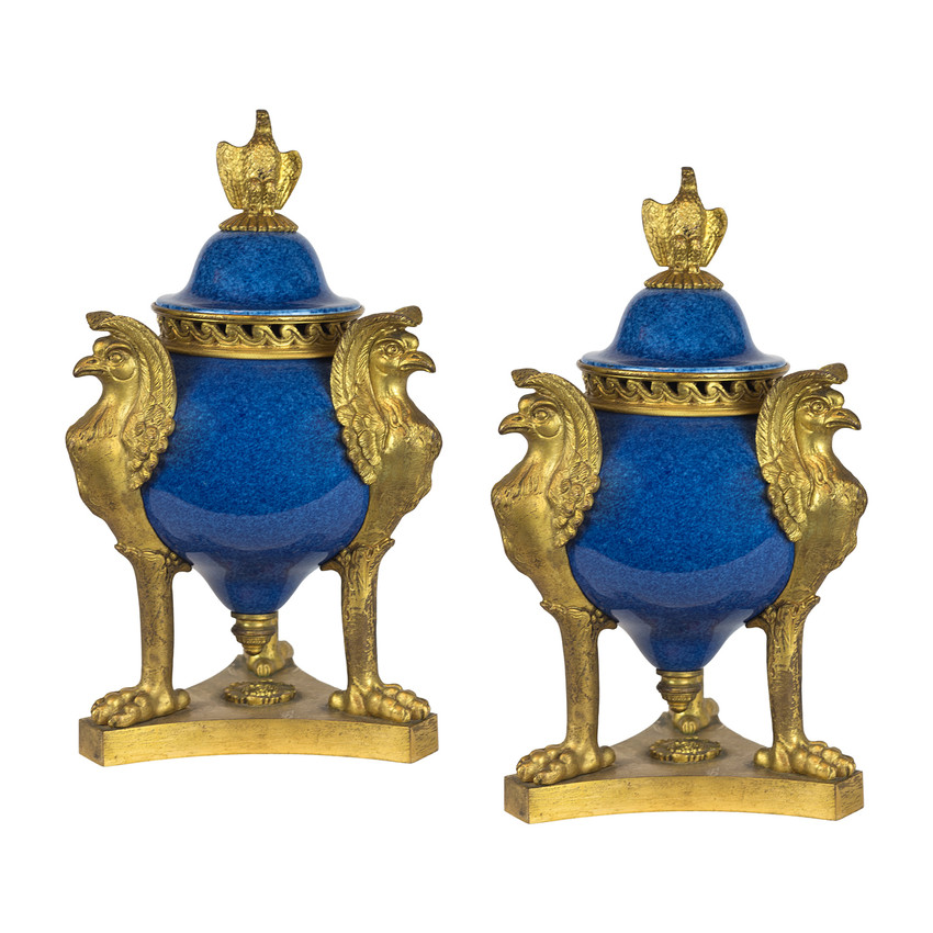 Pair of Sèvres Style Cobalt Blue Glaze and Ormolu Mounted Brule Parfums