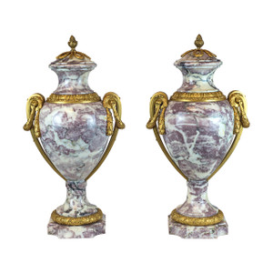 Fine Pair of Elegant Ormolu-Mounted Brèche Violette Marble Covered Urns