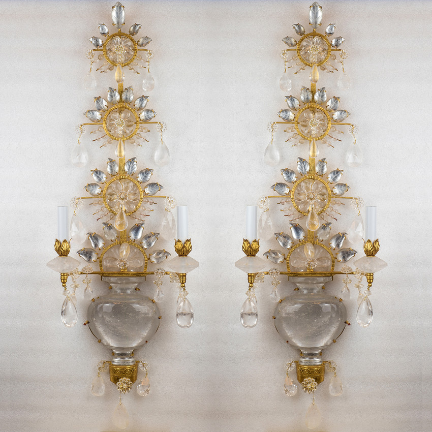 Pair of French Two-light Gilt Bronze Rock Crystal Wall Sconces