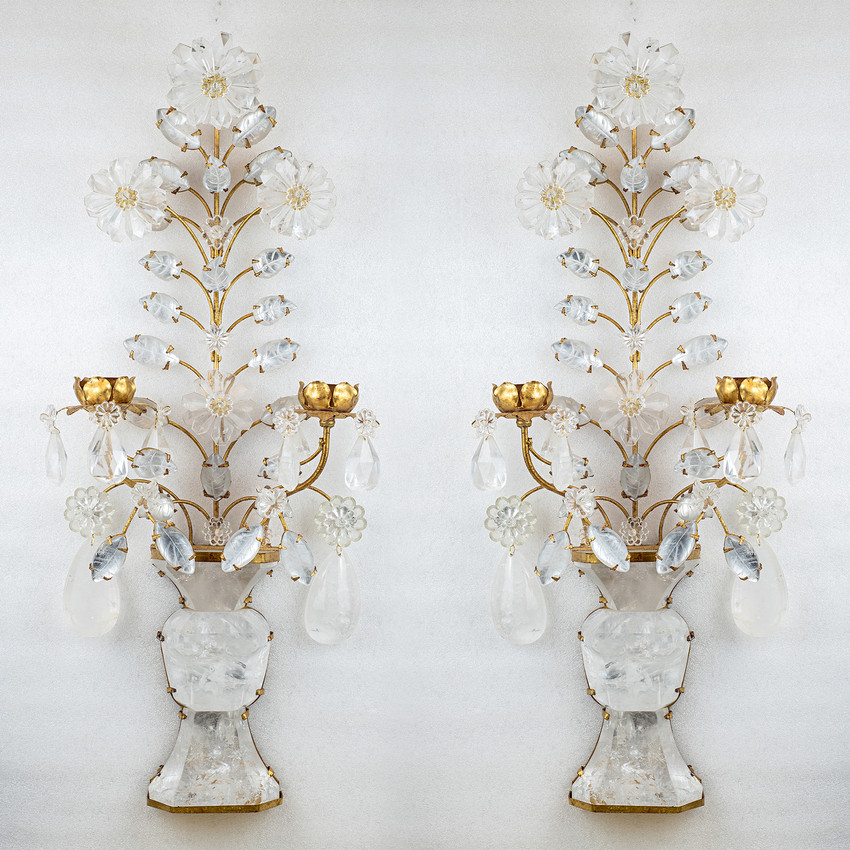Pair of Two-Light Gilt Bronze Rock Crystal Wall Sconces