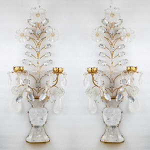 A Luxurious Pair of Two-Light Gilt Bronze Foliage, Carved in Rock Crystal Wall Sconces