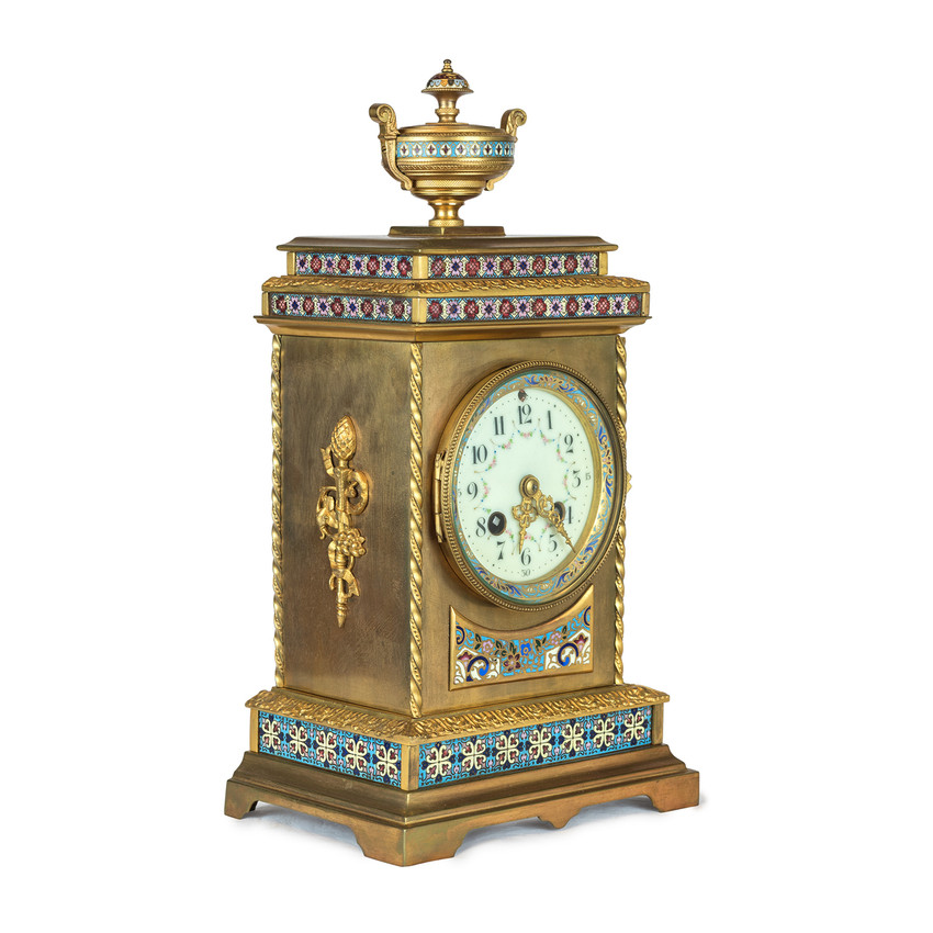 French Champleve Enamel and Gilt-Bronze Mantel Clock