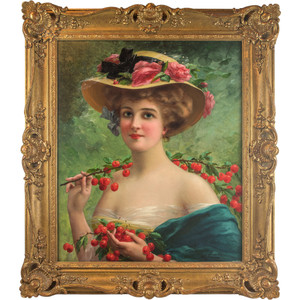 A Fine Portrait Painting of a Youthful Beauty by Emile Vernon