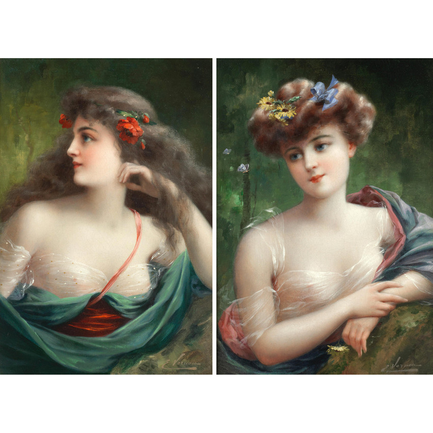 Portrait Painting of Young Beauties