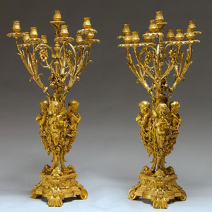 A Fine and Important Pair of Gilt bronze Ten-light Candelabra