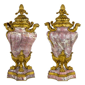 A Fine Quality Pair of Louis XV-style Ormolu-Mounted and Fleur de Pêcher Marble Cassolets by Jollet & CIE.