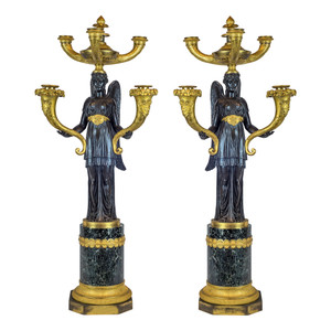 A Fine Quality Pair of Empire Patinated and Gilt-Bronze Five-Light Candelabras