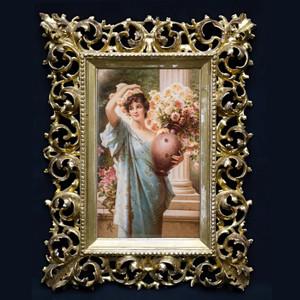 A Fine Quality K.P.M. Porcelain Plaque of Beauty with Flowers