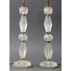 A Fine Pair of French Cut Glass Lamps with Etched Floral Decorations attributed to E.F. Caldwell