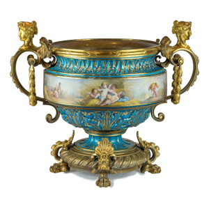 A Fine Quality Large Sevres-Style and Gilt Bronze Centerpiece