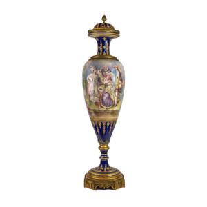 A Magnificent Large Sèvres-Style Gilt Bronze Mounted Cobalt Blue Ground Porcelain Lidded Vase