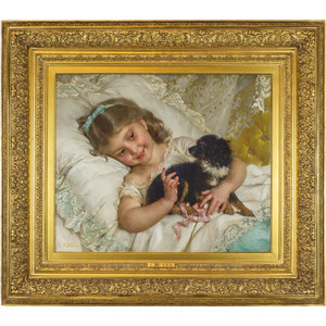 A Fine Painting of a Girl Holding a Dog by Emile Munier