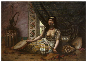 A Fine Painting of a Seated Oriental Dancer by Agapit Stevens