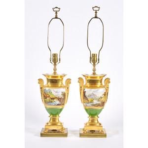 A Fine Quality Pair of Paris Porcelain Gold-Ground Vases
