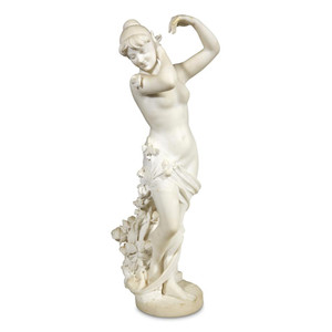 A Fine Quality Italian Marble Statue Entitled Allegory Of Spring by Pietro Barzanti