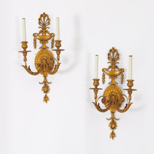 A Very Fine Quality Pair of George III Style Ormolu Sconces by E.F. Caldwell