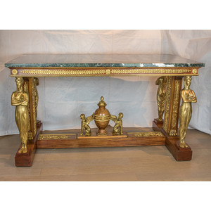 A Fabulous Empire Style Ormolu-Mounted Mahogany Marble Top Center Table