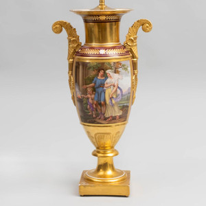 A Large Paris Porcelain Gilt Ground Vase Mounted as a Lamp