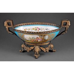 Fine Quality Sèvres Style Gilt Bronze-Mounted Porcelain Centerpiece Bowl