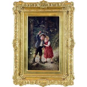 A Fine Quality KPM Painted Porcelain Plaque of Hansel and Gretel