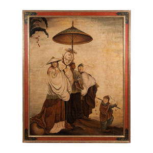 A Fine Large Chinoiserie Painted Panel