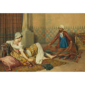 Fine Watercolor Orientalist Painting of a Rug Merchant by F. Ballesio