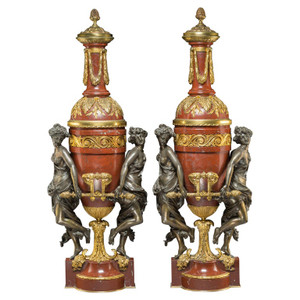 A Magnificent Pair of Gilt Bronze Mounted Marble Oil Lamps by Gagneau of Paris