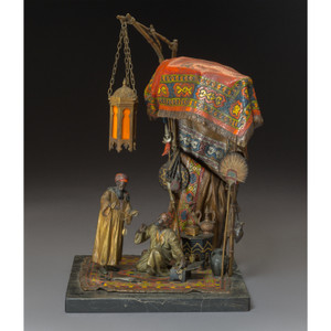 A Fine Cold Painted Bronze Table Lamp and Sculpture by Anton Chotka