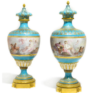 A pair of Sèvres Style Gilt Bronze Mounted Jeweled Porcelain Vases signed Poitevin