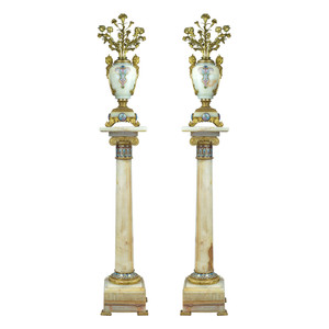 A Pair of French Ormolu and Champlevé Enamel-Mounted Onyx Torchères