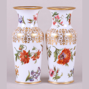Finely Painted Pair of French Opaline Glass Vases attributed to Baccarrat