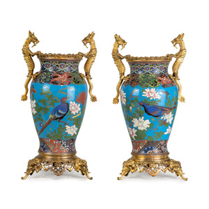 A Fine Pair of Japonisme Cloisonné Enamel Bronze Vases Attributed to Barbedienne