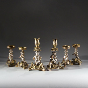 Table Garniture. Set of six gilt bronze table garniture, attributed to Henri Picard