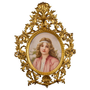 A Very Fine Quality KPM Porcelain Plaque of Beautiful Young Maiden