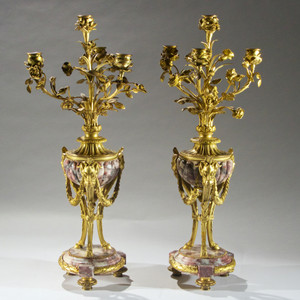 Very Fine Quality Pair of Ormolu Mounted and Marble Louis XVI Four Light Candelabra