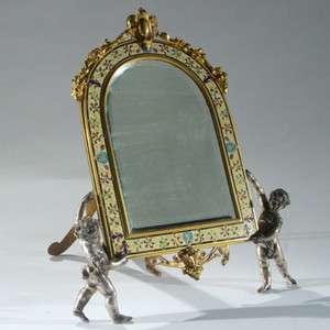 A Fine Champlevé Enamel and Gilt Bronze Vanity Mirror Held by Cherubs