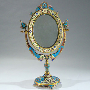 A Fine French Ormolu and Champlevé Enamel Oval Dressing Table Mirror