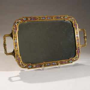 Exquisite French Bronze Enamel Champlevé Vanity Tray