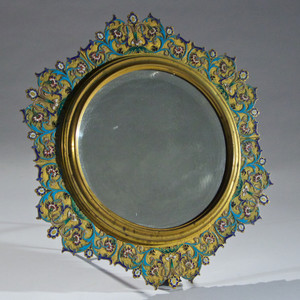Exquisite French Gilt Bronze Enameled Champlevé Vanity Mirror