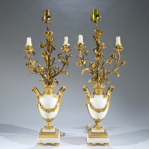 Fine Pair of French Ormolu and White Marble Three-Light Candelabra by Eugene Hazart